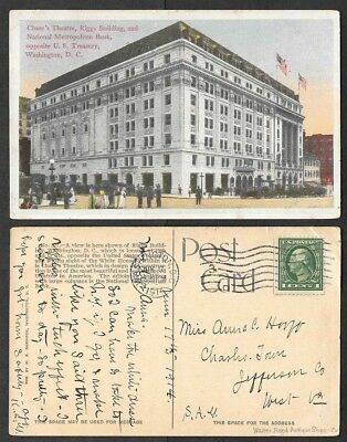 1914 Washington, DC Postcard - Chase's Theatre, Riggs Building, Bank