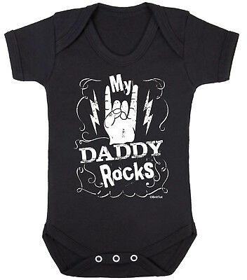DADDY ROCKS Funny Boys Girls BABYGROW Vest Bodysuit Alternative Metal Dads Gift