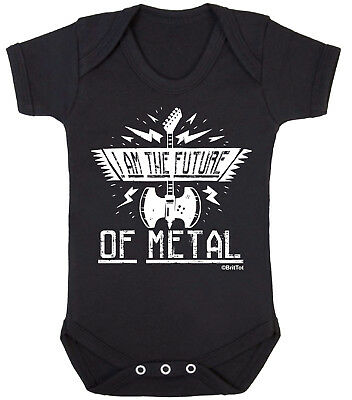 I AM THE FUTURE OF METAL Funny Boys Girls BABY GROW Vest Bodysuit Rock Goth Punk
