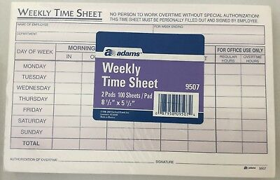 adams weekly time sheet time cards 2 pads 8 1 2 x 5 1 2 9507 office