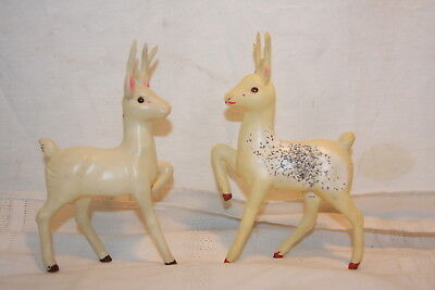 Two Vintage Japan Celluliod White Reindeer Christmas Decoration