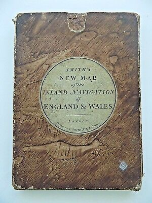 1803 Smith's Map Inland Navigation England Wales Canals Slipcase Old Antique