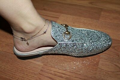 1a980aa71ec GUCCI PRINCETOWN SILVER Glitter Slipper Shoes Women 36.5 6.5 6