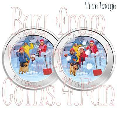 2018 - Snowball Fight - 50 cent 3D Lenticular Coin - Canada