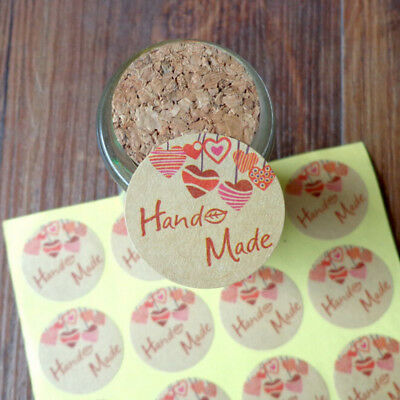120pcs Round Hand Made Kraft Paper Seal Stickers DIY Gifts Baking Decor labelsZP