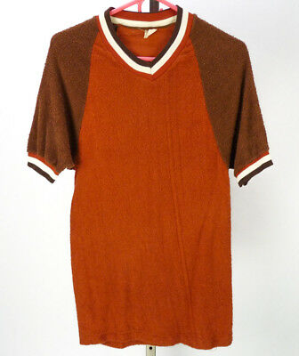 Vintage 70s Terry Cloth Jersey T-Shirt (M) Rust Brown V-Neck Raglan Ringer Tee