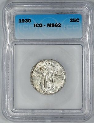 1930 Standing Liberty Quarter 25C Icg Certified Ms 62 Mint State (301)