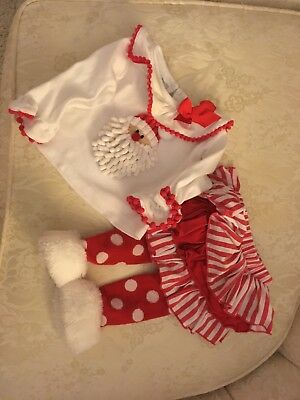 Mud Pie Baby Girls Santa Christmas 2pc Shirt Pants TUTU 6-9 month