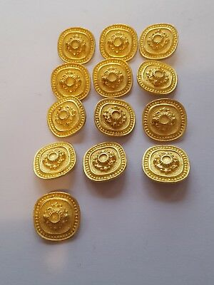 13 Pieces Vintage Antique Brass (Bronze) Plain Metal Blazer Button Set -...