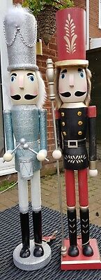 Nutcracker Soldiers Christmas Large Set Of Two Drummer And Guardsman 60 Cms Bnwt