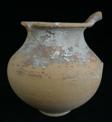 """Ancient Greek Red Ware Vase, Colony of Taranto , c. 5th/3rd BCE. 4 ¾"""" tall"""