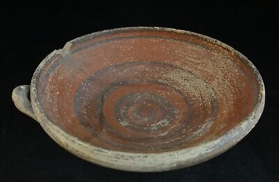 "Ancient Cypriot pottery bowl w/red slip glaze & rings. 1800 - 1200 BCE. 9"" dia."