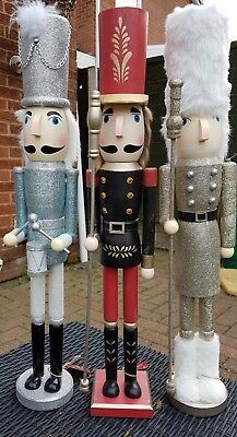 Nutcracker Soldiers Christmas Large Set Of 3 Drummer And 2 Guardsmen 60 Cms Bnwt
