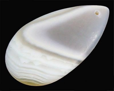 Natural White Stripes Agate Matte Frosted Teardrop Pendant Bead 49m26x6mm