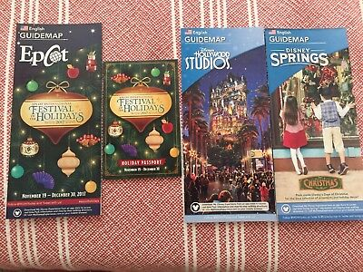 Walt Disney World Holiday Guide Maps 2017 - New Set Of 3.