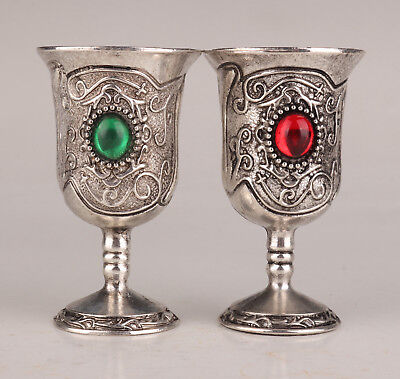 2 Tibet Silver Old Handwork Inlaid Zircon Stone Ornament Wine Cup