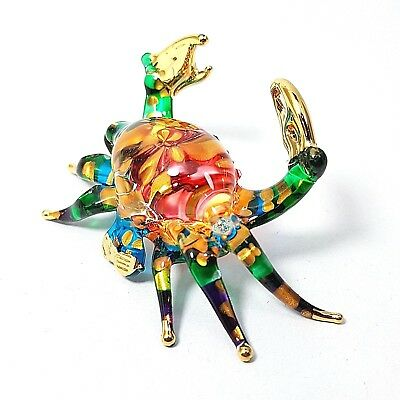 Art Hand Blown Glass Crab Figurine Statue Paperweight Collectibles Home Decor S