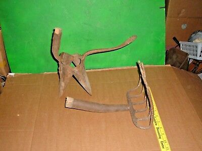 2 vtg farm tools garden tools 1888 potato planter & potato digging fork