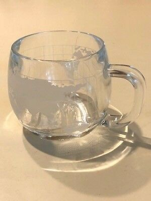 Vintage Nestle Co. Nescafe *world Globe* Clear Frosted Coffee Cup