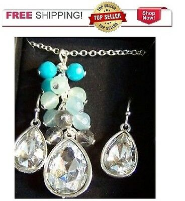 Avon Pacific Opalesque Charm Necklace and Earrings Gift Set 1124024
