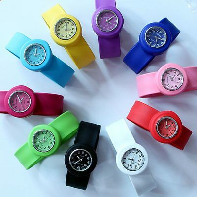 Children Boys Girls Kids Unisex Silicone Rubber Slap Wrist Pop Wrist Watch
