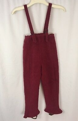 VTG 1930s 40s Wool Leather Kids Youth Overalls Stirrup Pants Lined Antique