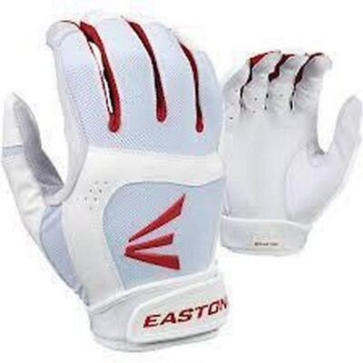 1 Pair Easton Stealth Core Small White / Red Fastpitch Womens Batting Gloves