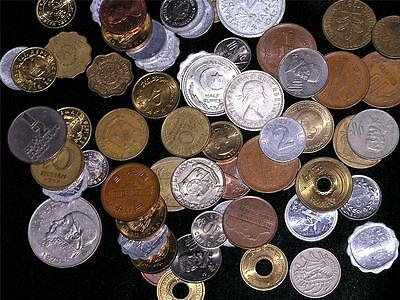 COINS BIN SMALL Mixed Lot Many Countries Circulated FOREIGN MONEY