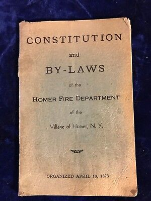 HOMER NY FIRE DEPARTMENT constitution and by-laws 1951 booklet