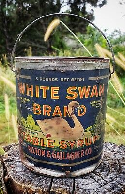 Rare White Swan Brand Table Syrup Paper Label Tin Advertising Can Paxton Omaha