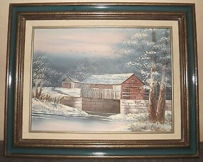 signed Michaelson Covered Red Bridge in Winter pastoral oil framed