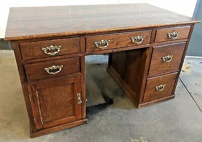 Stunning Solid Oak Antique Desk Large & Deep Double Pedestal Kneehole Office