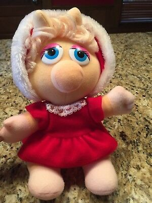 """Vintage Miss Piggy Christmas Plush Doll 1987 Muppet Baby 10"""" Toy Excellent"""