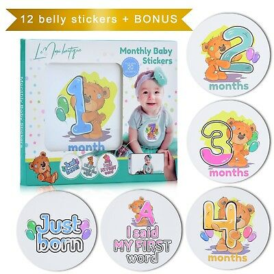 Baby Monthly Milestone Stickers - 20 Teddy Bear bodysuit Stickers for First Year