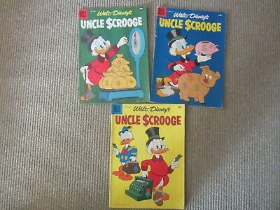 3 1958 Walt Disney's Uncle Scrooge Silver Age Comics #20, #21, #22 VG+ to FN