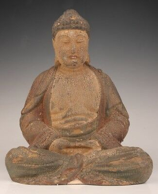 Antique Chinese Spiritual Big Buddhist Wood Statue Old Hand Carved Meditation