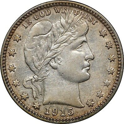 1915-S Barber Quarter 25c, Extremely Fine/About Unc (XF/AU), Lightly Cleaned