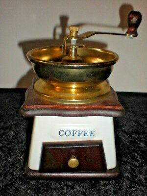 Coffee Grinder Porcelian Brass Metal Wood Top Hand Crank with Draw Vtg