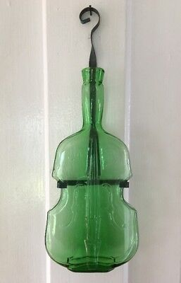 "Vintage Green Glass Guitar Violin Wall Hanger Bottle Vase Jar 9 1/2"" Tall Decor"