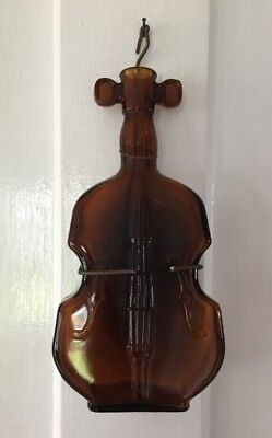 "Vintage Brown Glass Guitar Violin Wall Hanger Bottle Vase Jar 8"" Tall Decor"