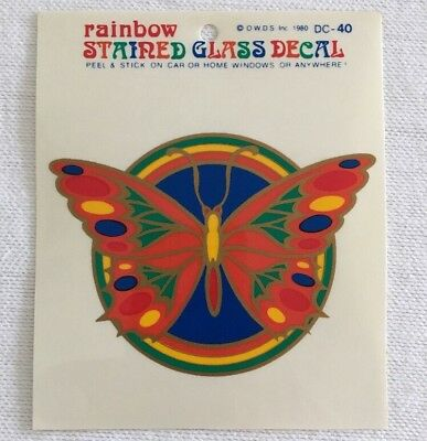Butterfly Stained Glass Decal Rainbow Window Sticker Car Home Vintage 1980