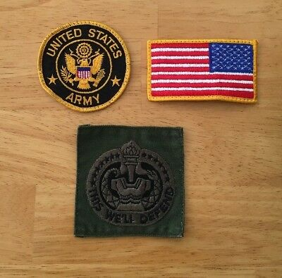 US Military Patch Lot United States Army, This We'll Defend, Left American Flag