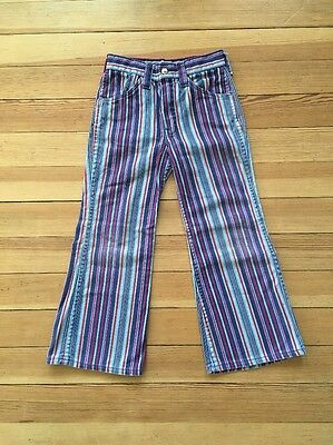 Vintage Hippie Jeans HILLBILLY BRAND Child Size Retro Striped Rare
