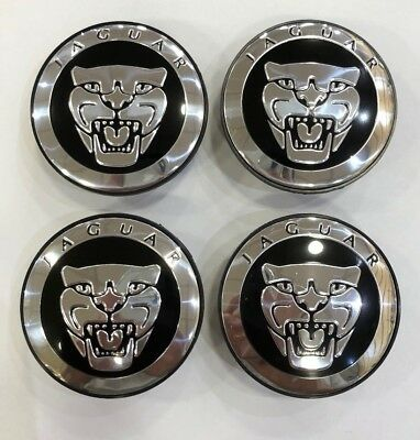 4x JAGUAR BLACK ALLOY WHEEL CENTRE CAPS 59mm - X XJR XJ6 XF F TYPE HUB