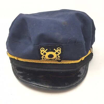 Vintage Mac Miller Yacht Skipper Cap Hat Size Small Sailor Costume Navy Blue 5B