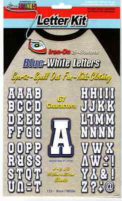 Iron On Letters BLUE - WHITE Team 67 Count Pack 2 inches / 5CM Vinyl Transfers