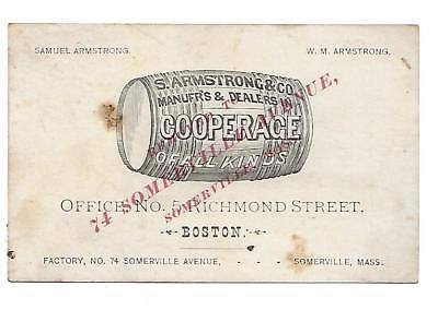 S. Armstrong & Co. Cooperage Victorian Trade Card Somerville Mass. Barrels
