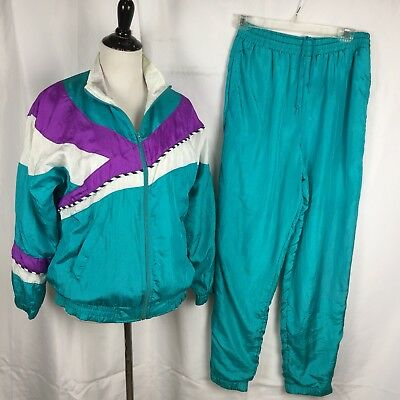BARGAIN Vtg 80s Bold Sport Nylon Lined Tracksuit Womens Small Teal Colorblock