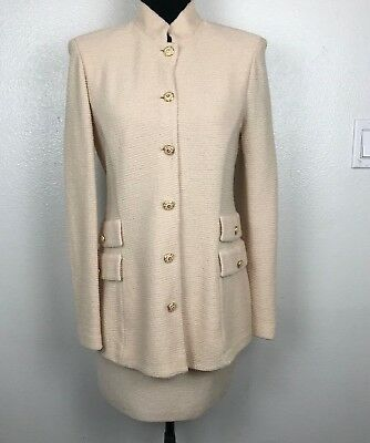 St John By Marie Gray Santa Ana Knit Cream Jacket Skirt 2pc Suit Beige Size 4