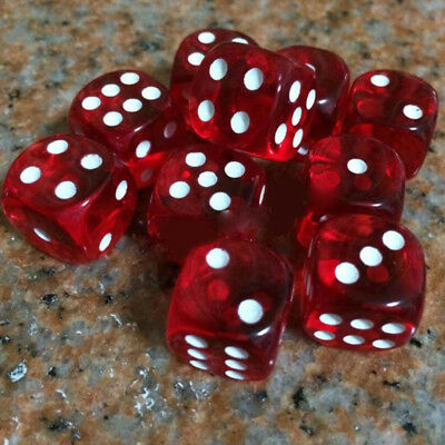 10pcs/Set Six Sided Square Opaque 16mm D6 Dice Red With White Pip Die